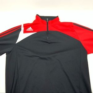 Adidas 1/4 Zip Pullover Sweater Size XXL Blk/Rd/Wh